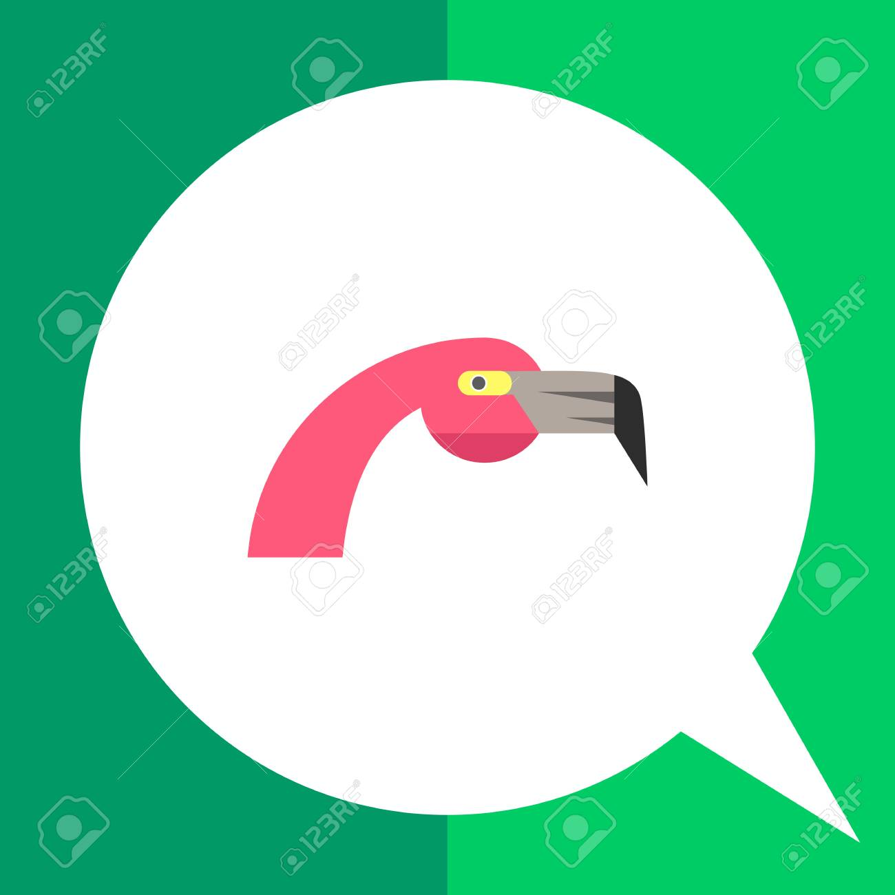 Multicolored vector icon of pink flamingo head, side view - 60939352