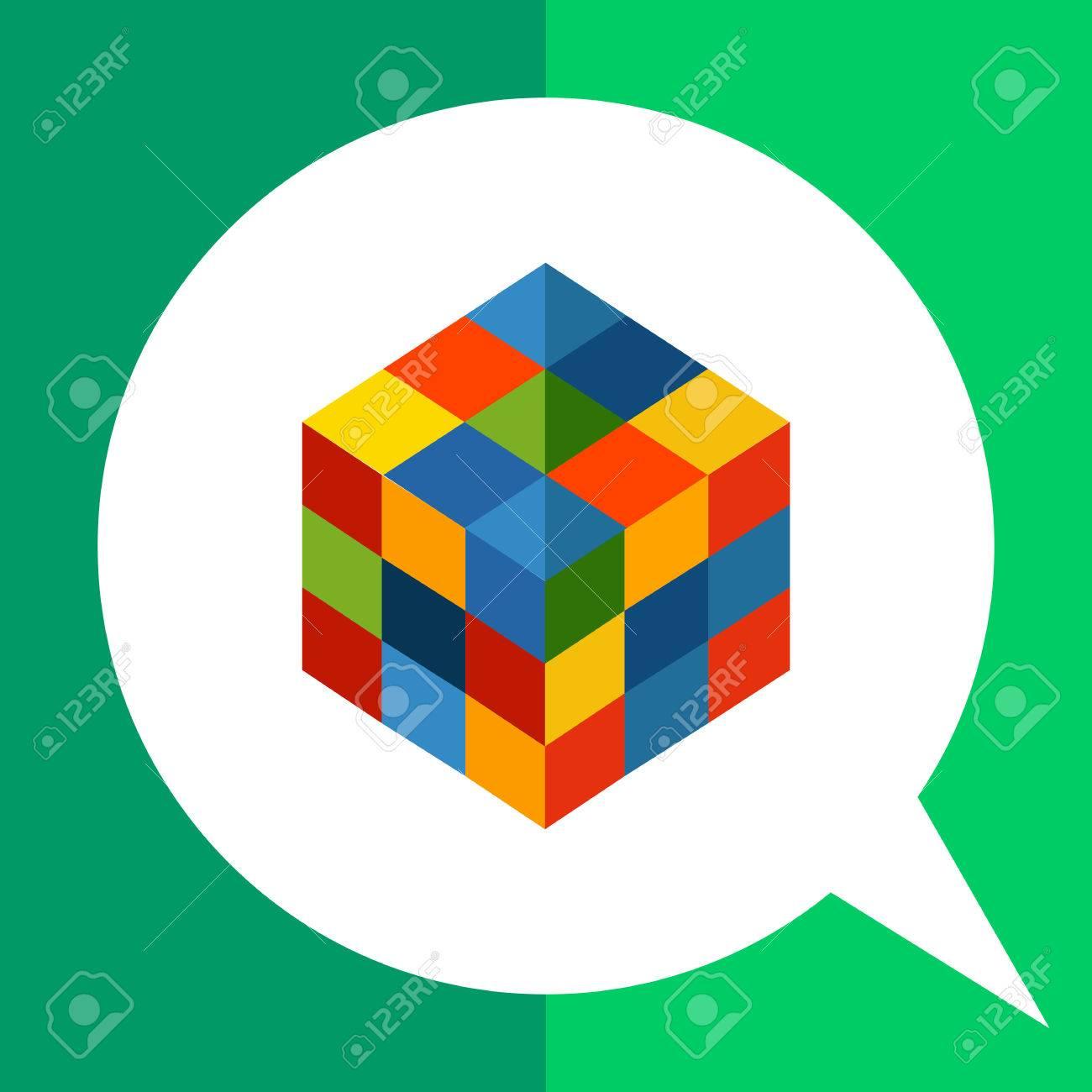 正方形のルービック キューブの色とりどりのベクトルのアイコンの