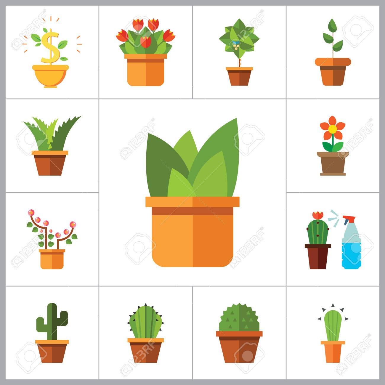 Potted Flowers Icon Set. Money Tree Cactus In Pot Cactus And Spray Bottle Plant Blooming  sc 1 st  123RF.com & Potted Flowers Icon Set. Money Tree Cactus In Pot Cactus And ...