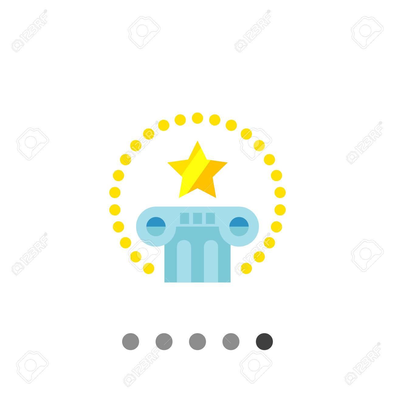 Multicolores Icône Vecteur De Pilier Avec étoile Au Dessus Et Le Cercle De Points Autour Représentant Le Droit International