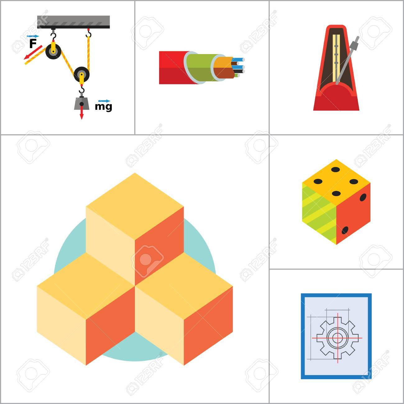 Mathematics Icon Set Gear Wheel Drawing Metronome With Pendulum Logic Diagram Images Collision Balls Globe Cubes Philosophy