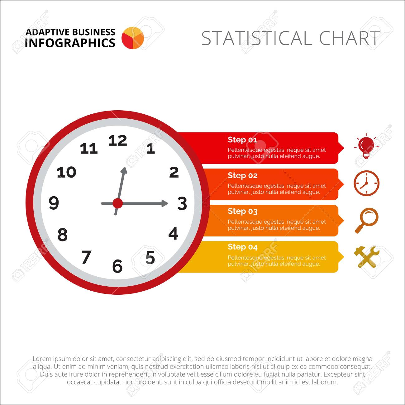 clock infographic  element of presentation, step diagram, chart  concept  for templates,