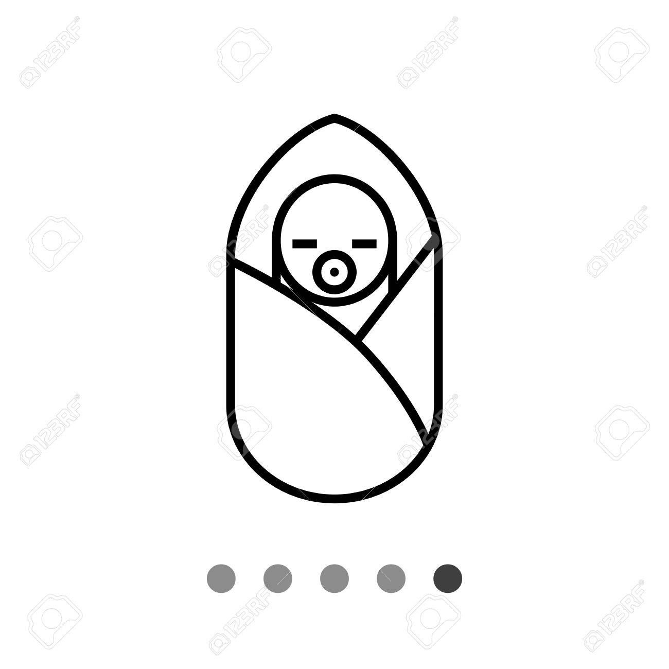 Icon Of Newborn Baby With Pacifier In Sleeping Bag Stock Vector