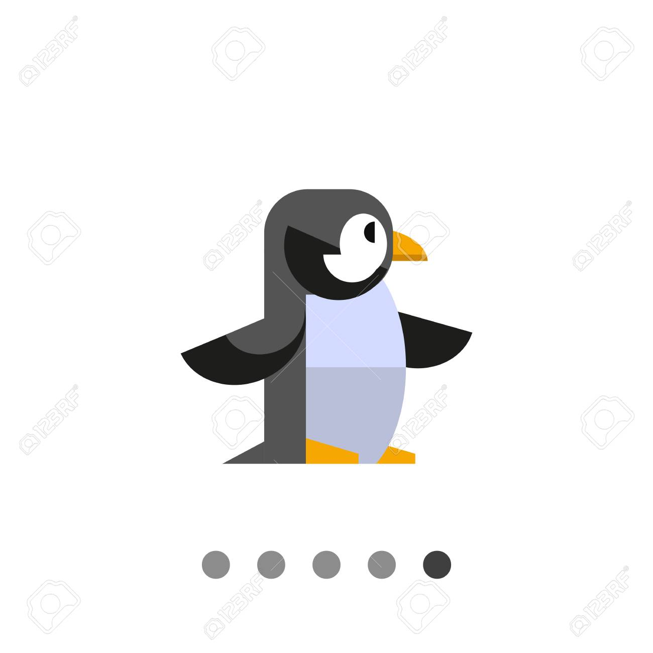 Multicolored vector icon of penguin, side view - 64002918