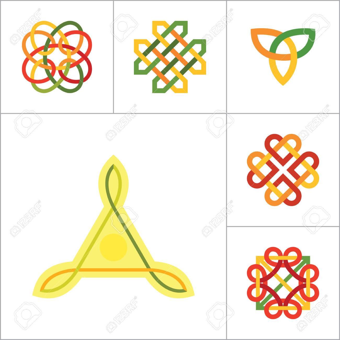 Celtic Ornament Icon Set Infinite Knot Endless Knot Eternal