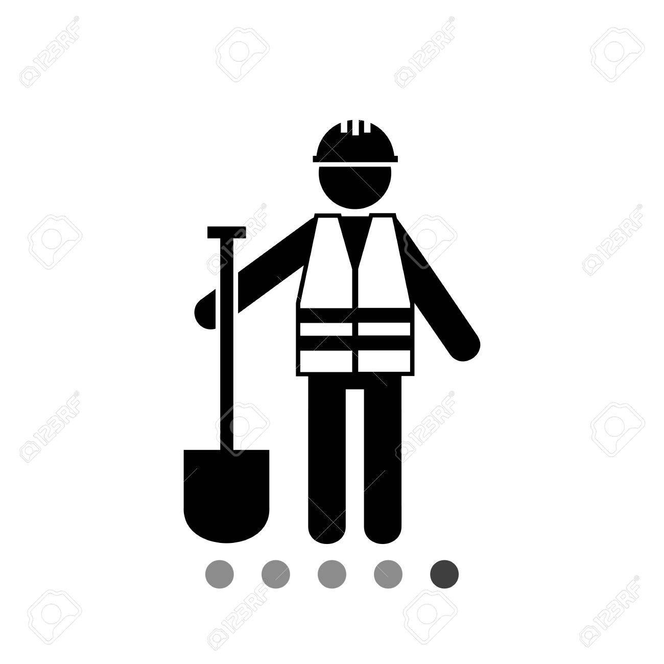 Worker In Safety Vest With Spade Road Asphalt Digging Roadwork Concept