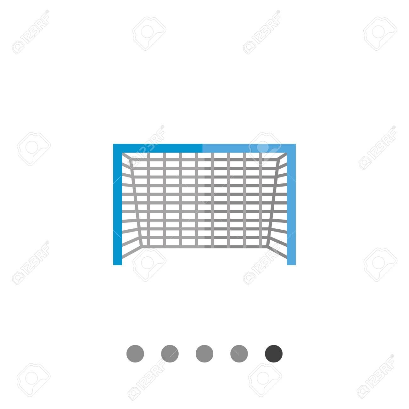 multicolored flat icon of soccer goal with blue frame and grey