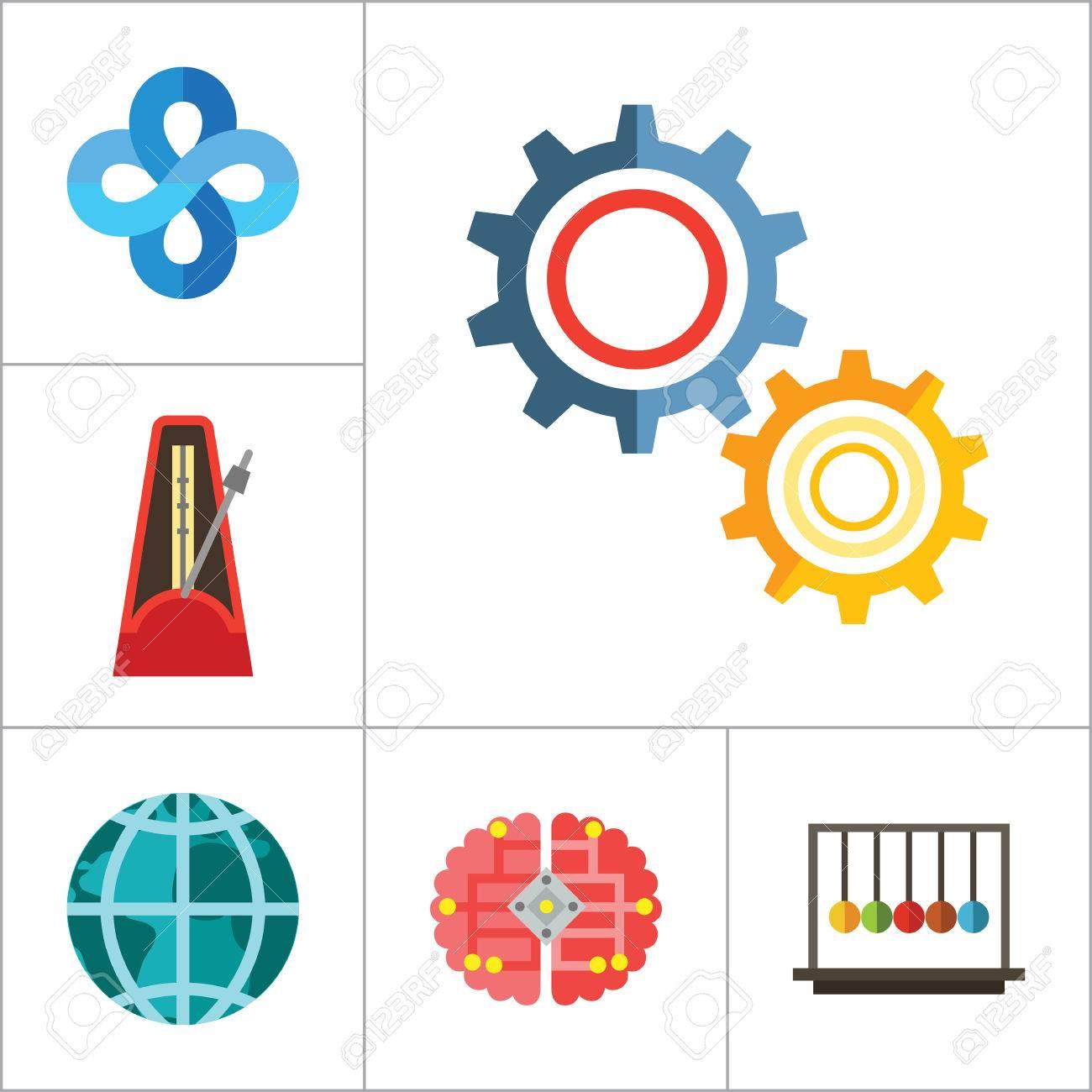 Mathematics icon set gear wheel drawing metronome with pendulum gear wheel drawing metronome with pendulum collision balls globe cubes diagram philosophy ccuart Images