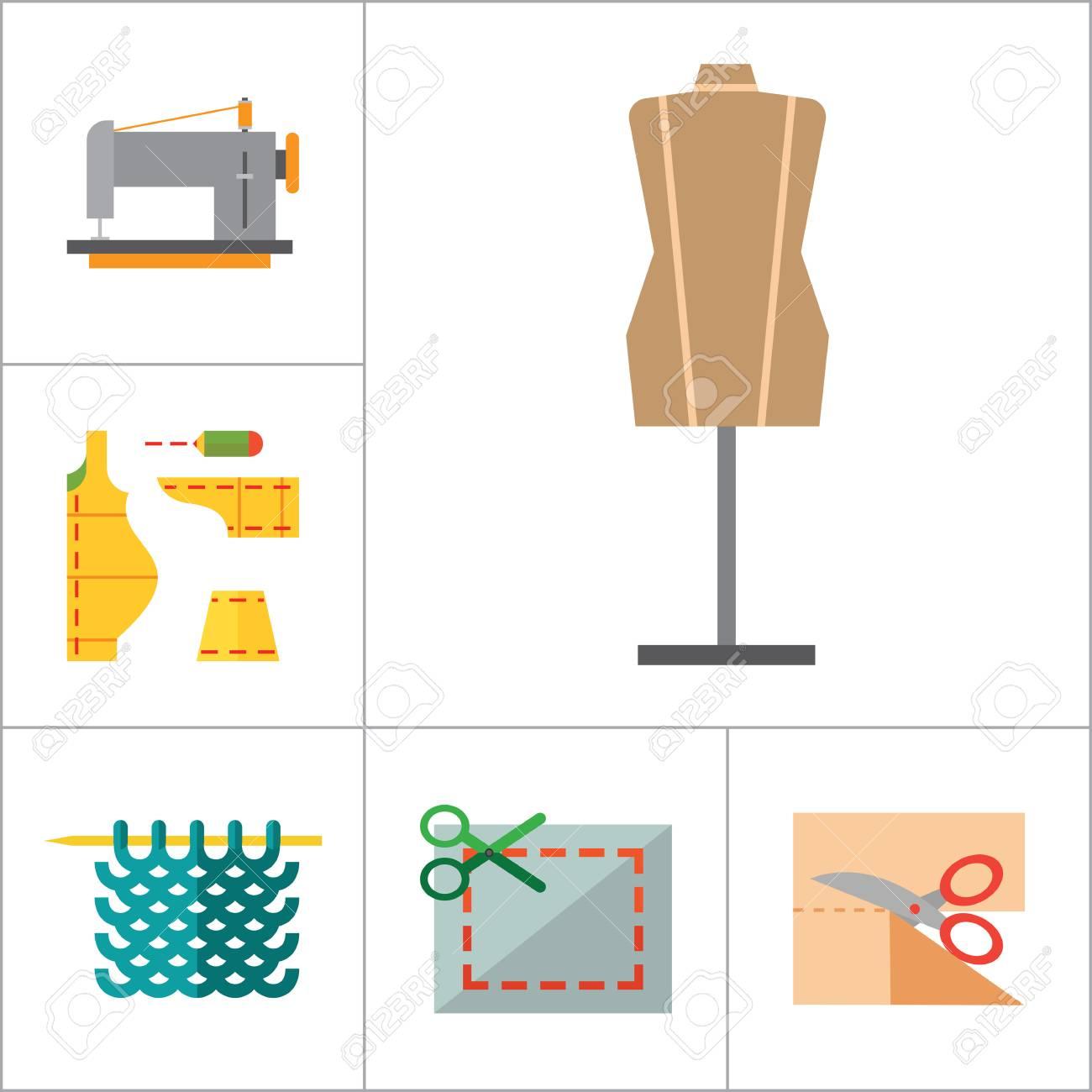 Iconos Set De Costura Con La Máquina De Coser, Hilados, Con Agujas ...