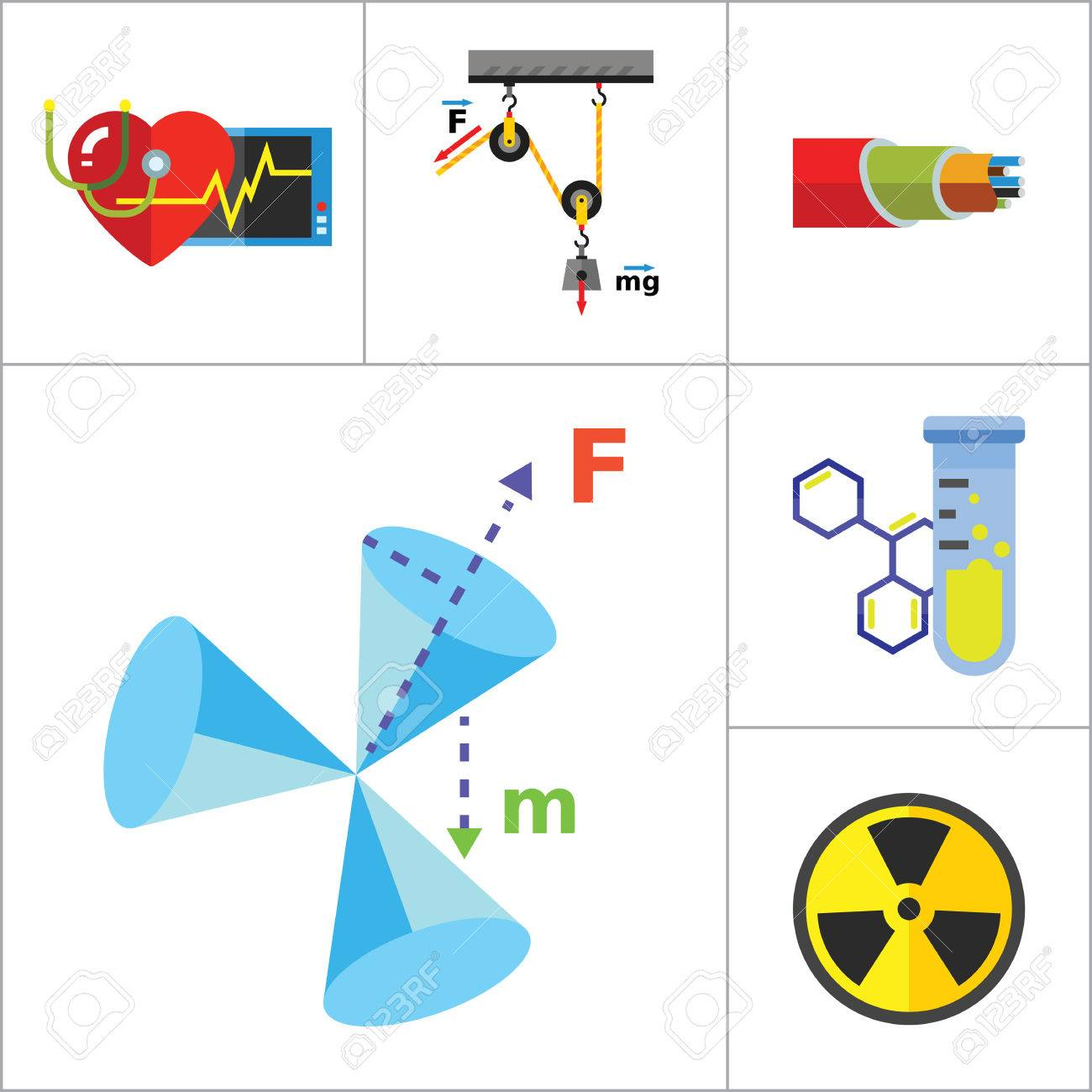 Physics Icon Set Galaxy Radiation Sign Substance In Test Tubes Genetic Engineering Diagram Flask Logic Concept