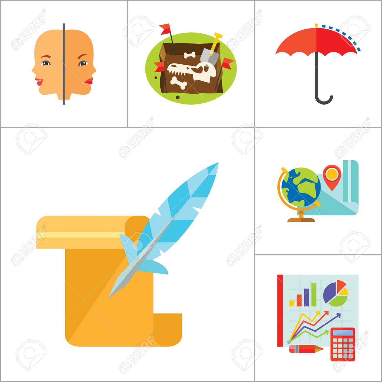Science Type Icon Set. Archeology Astronomy Cartography Engineering ...