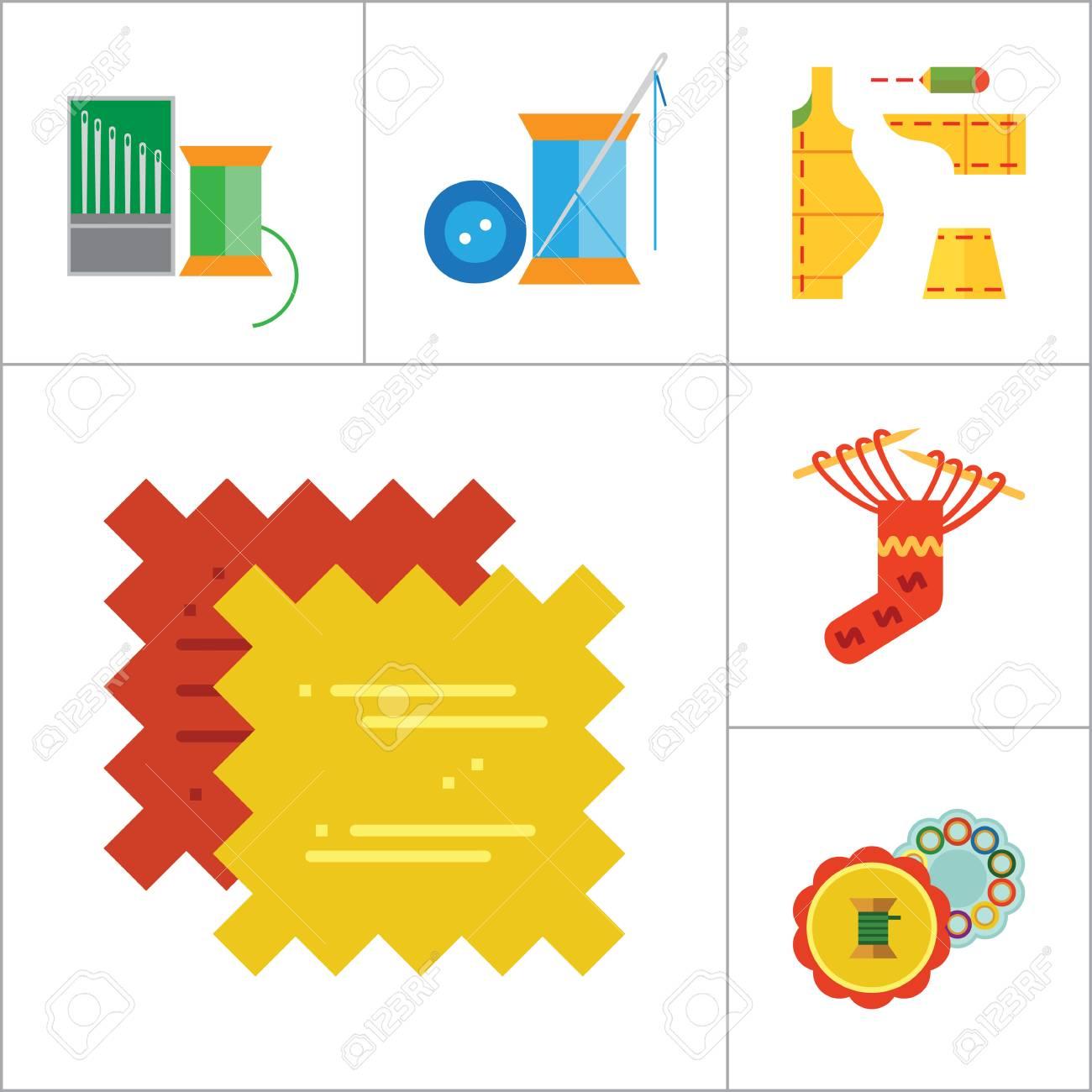 Iconos Set de costura con la máquina de coser, hilados, con agujas de tejer  y patrón de costura. Trece iconos vectoriales