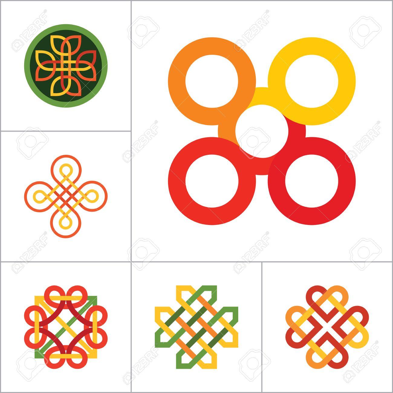 Pattern Icon Set Hexagon Pattern Infinite Knot Traditional Knot
