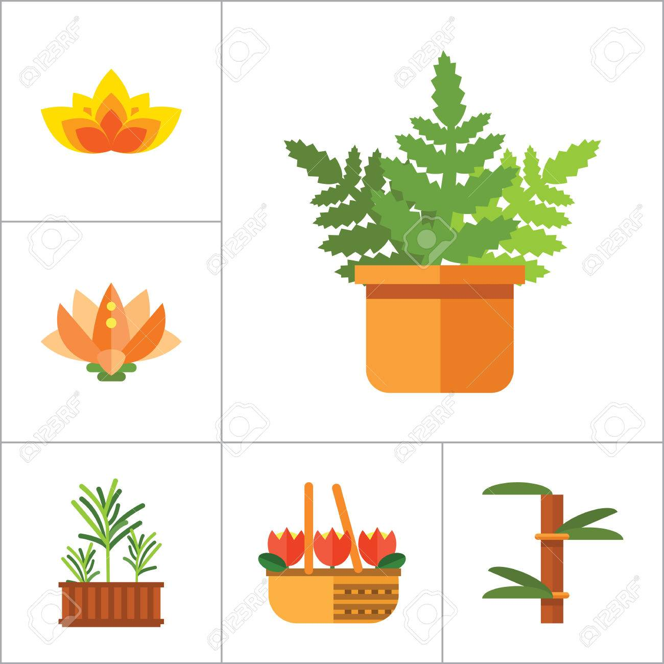 pflanze icon-set. korb mit blumen weizenohren bewässerung von