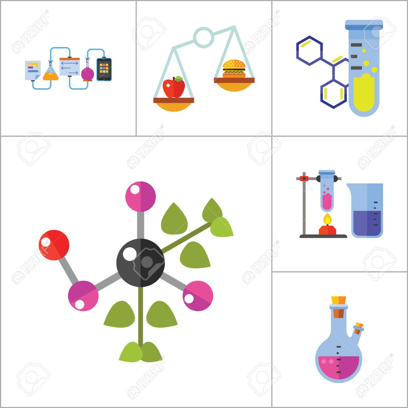 Icono De La Biología Set Estructura Celular Frasco De La Prueba De Tubo Productos En Escalas De Calefacción Del Tubo De Ensayo Del Genoma Humano De