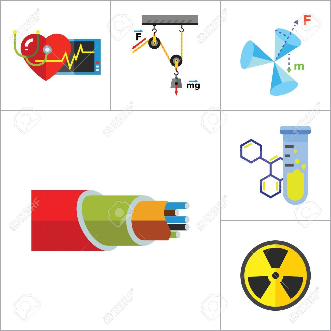 Physics Icon Set. Galaxy Radiation Sign Substance In Test Tubes ...