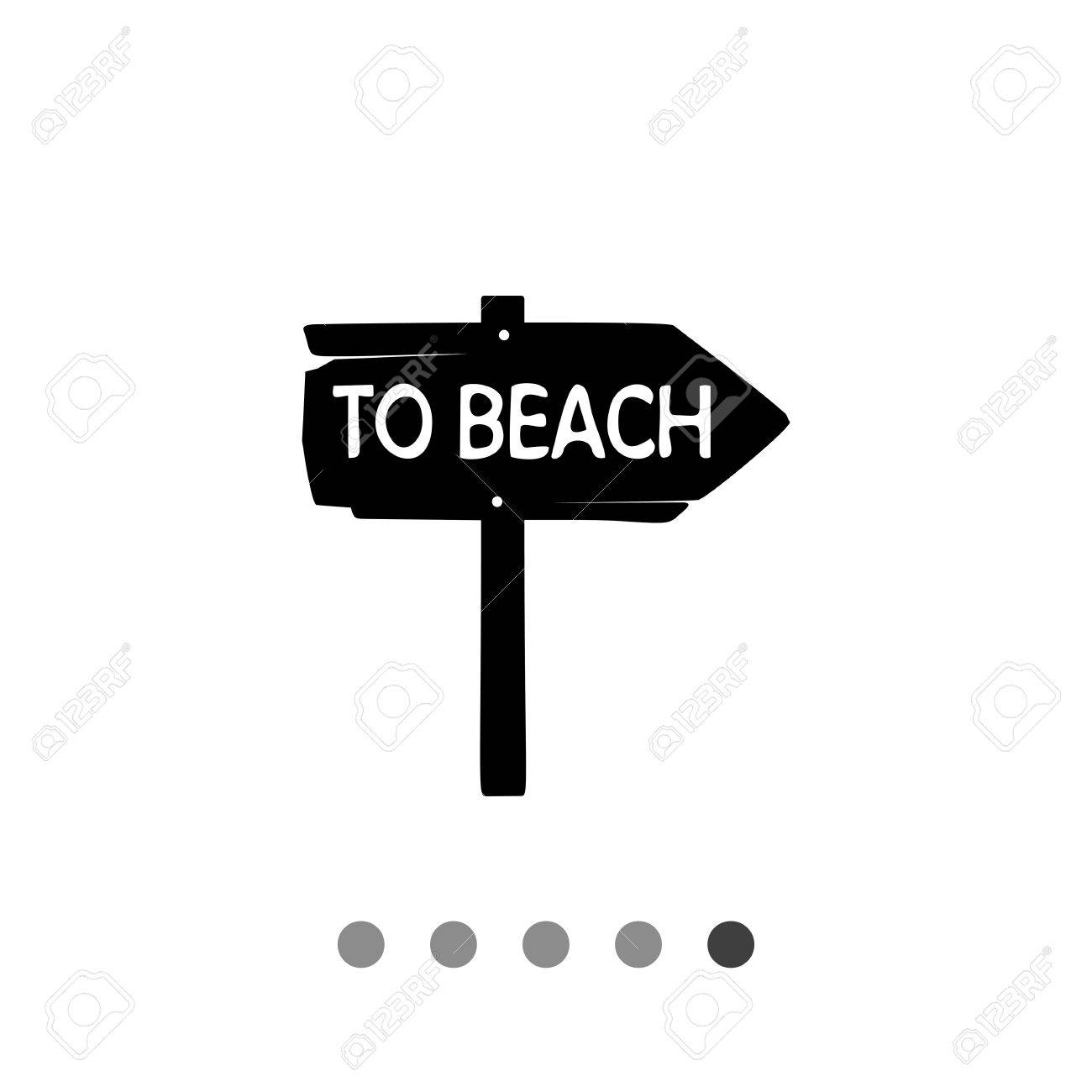 Monochrome Vector Icon Of Vintage Wooden Arrow Sign To Beach Stock