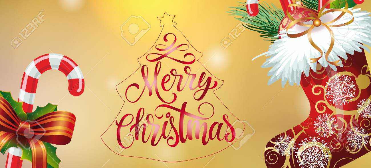 Merry christmas lettering in fir tree outline christmas greeting merry christmas lettering in fir tree outline christmas greeting card with candy canes ornate m4hsunfo