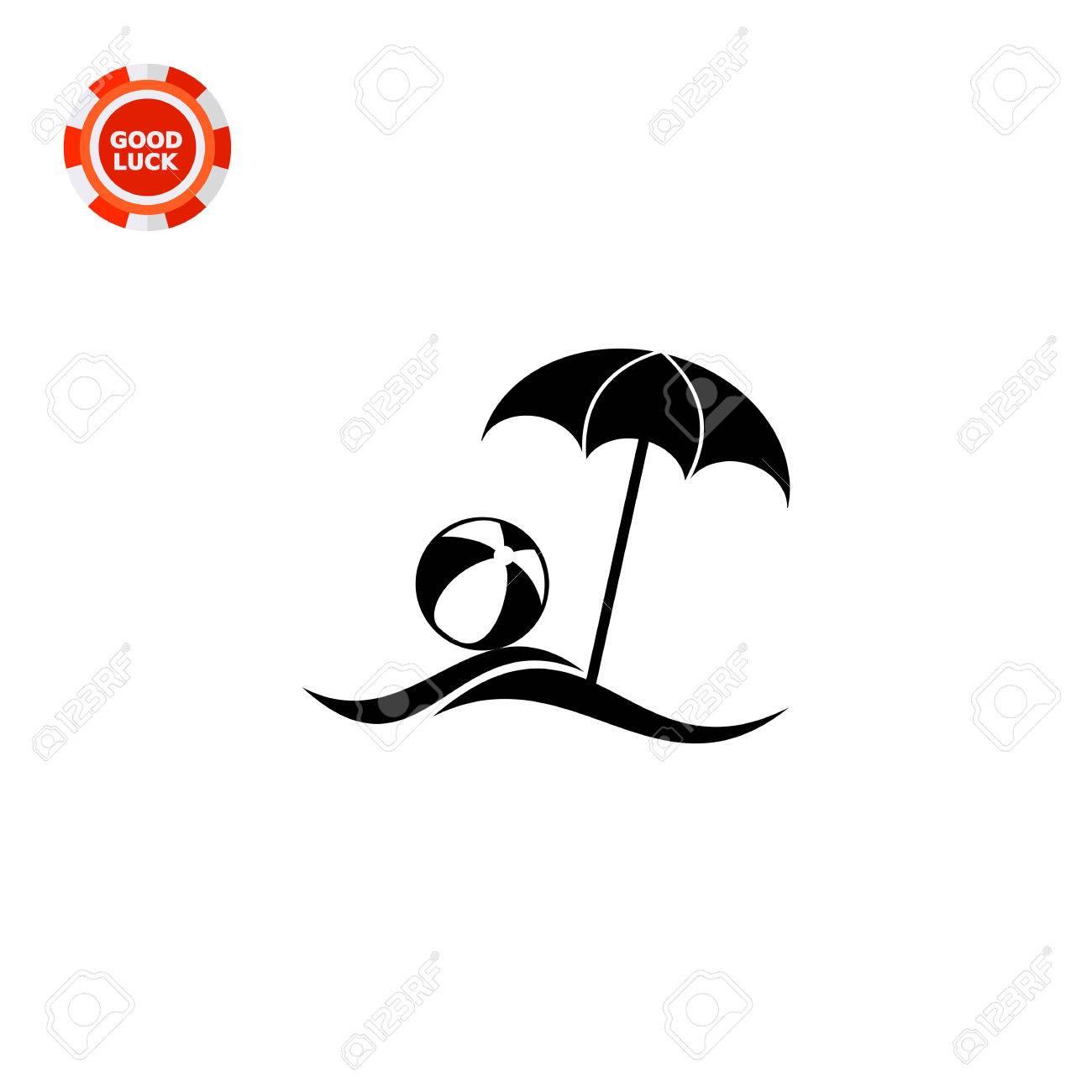 Disegni Di Spiaggia E Ombrelloni.Vettoriale Mare Spiaggia Con Ombrellone E Pallone Da Spiaggia