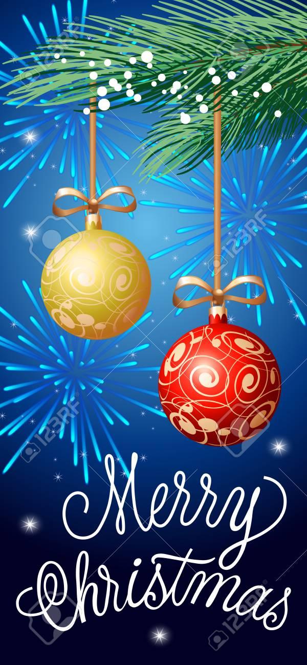 Merry christmas lettering christmas greeting card with fir tree merry christmas lettering christmas greeting card with fir tree twigs and hanging balls handwritten m4hsunfo