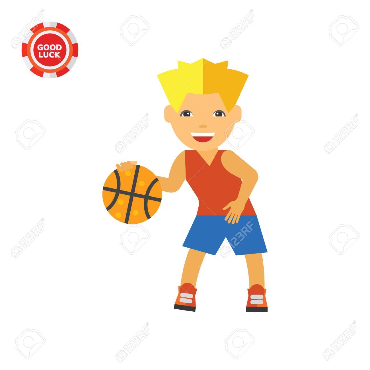 Vettoriale Ragazzo Che Gioca A Basket Giocatore Di Basket Gioco