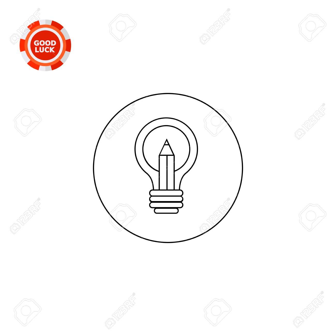 Pencil In Light Bulb As Symbol Of Creativity Metaphor Solution