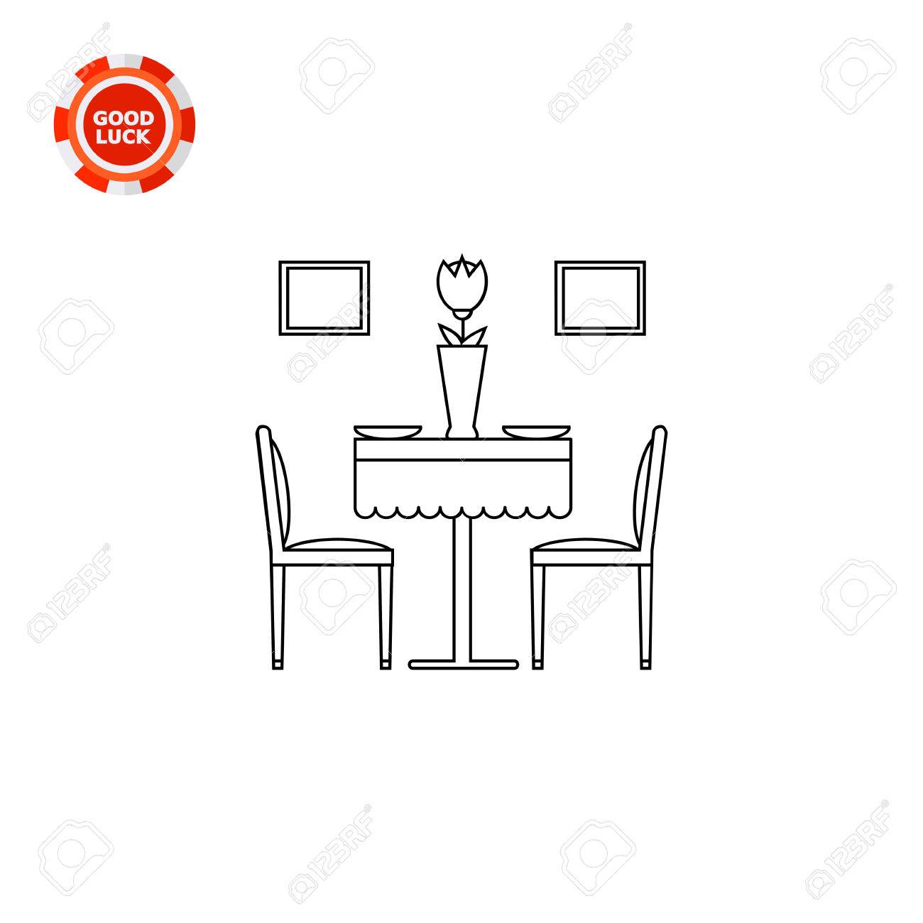Dining Room Set With Served Table And Chairs. Domestic, Eating, Decorative.  Dining