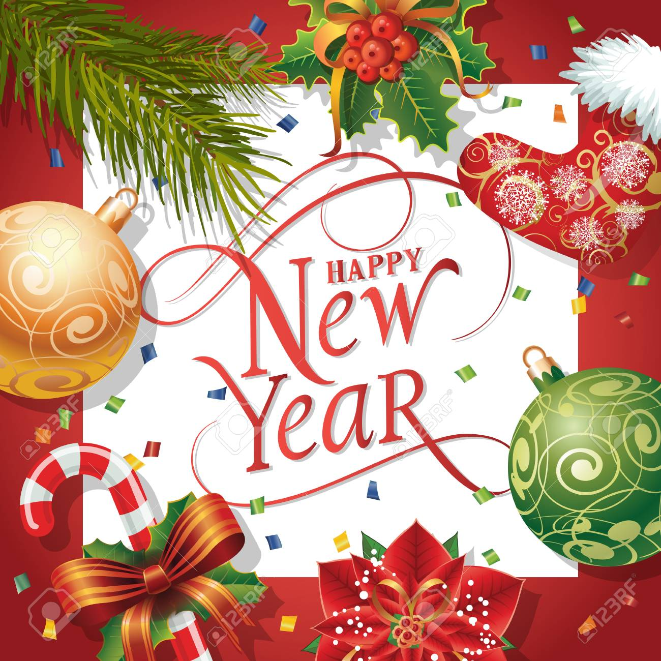 Happy new year lettering in square new year day greeting card happy new year lettering in square new year day greeting card with fir tree twig m4hsunfo