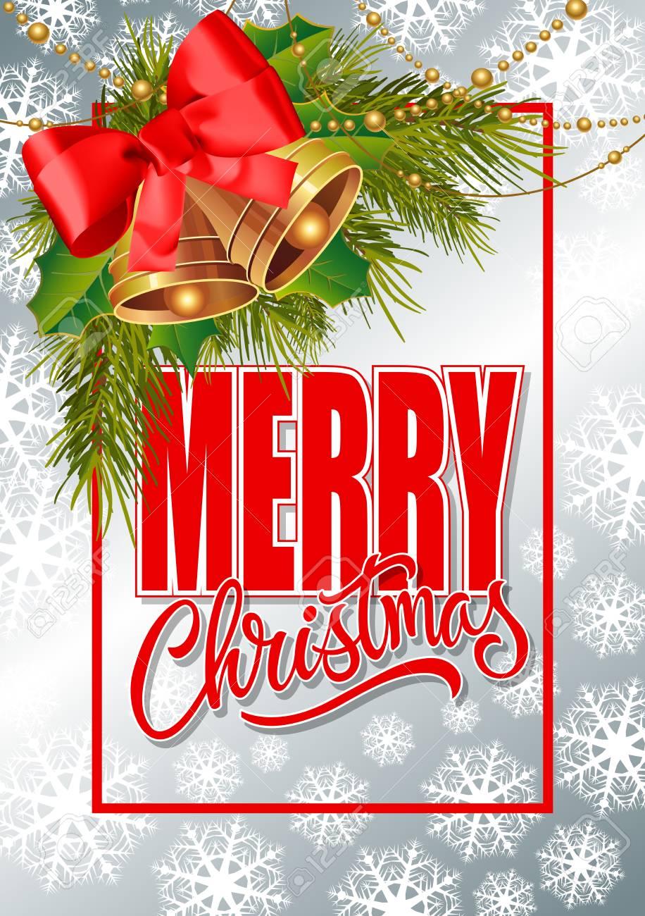 Frohe Weihnachten Schriftzug Im Rahmen. Weihnachtsgrußkarte Mit ...