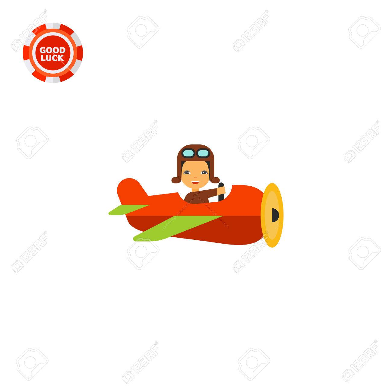Cartoon Flying Old Plane With Smiling Pilot Navigating It Side