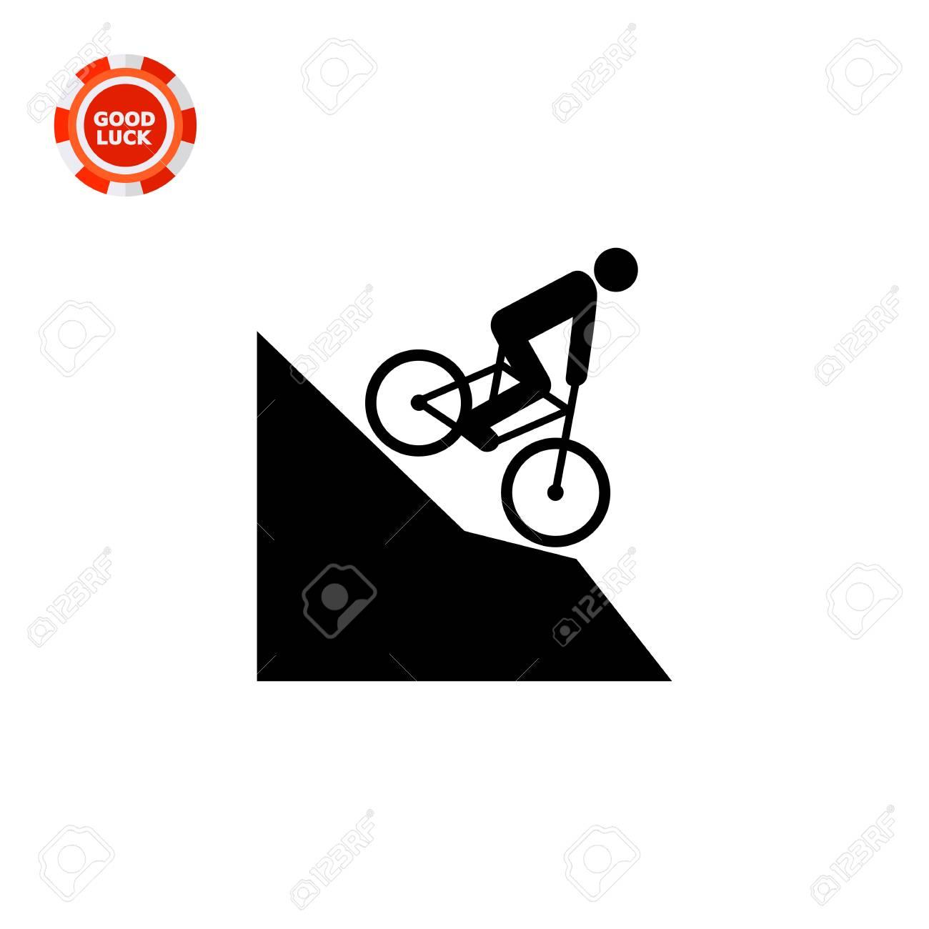 Man Riding Mountain Bike Downhill Extreme Fast Fun Mountain