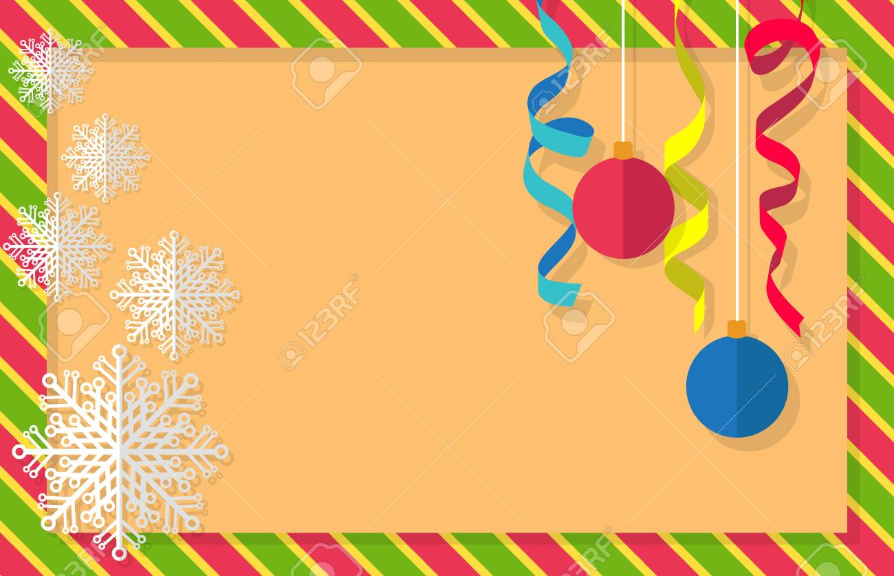 christmas and new year card design vector illustrations of christmas balls streamers snowflakes