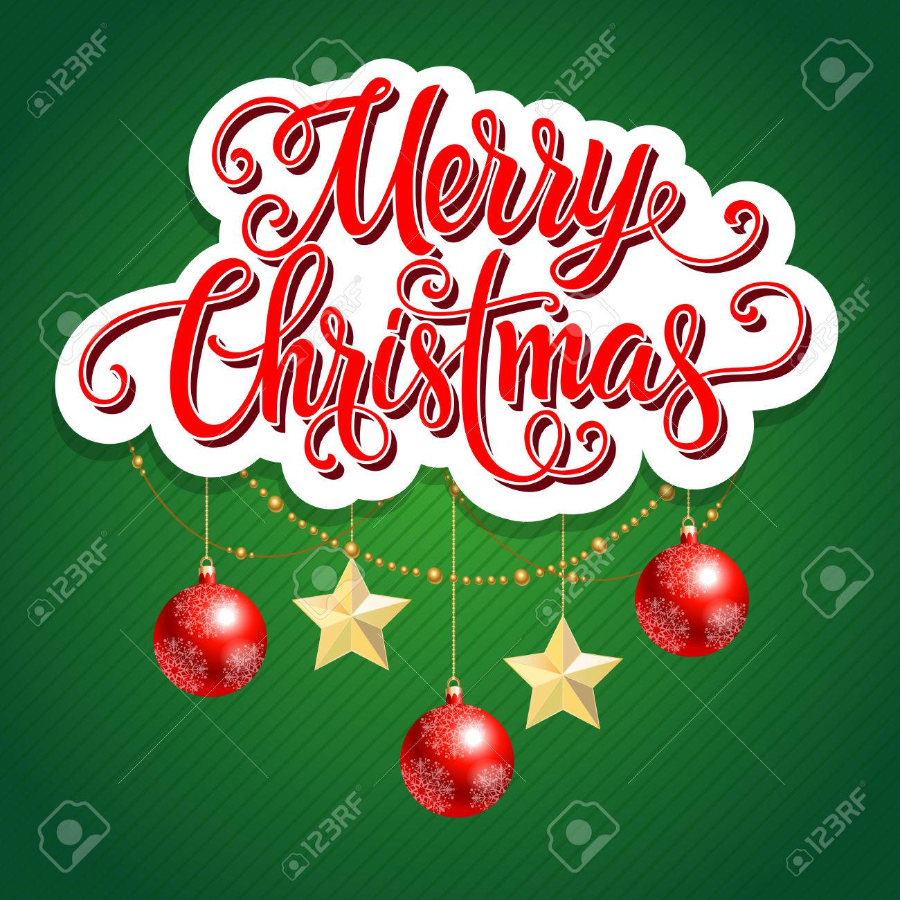 Merry Christmas Lettering Christmas Greeting Card With Balls