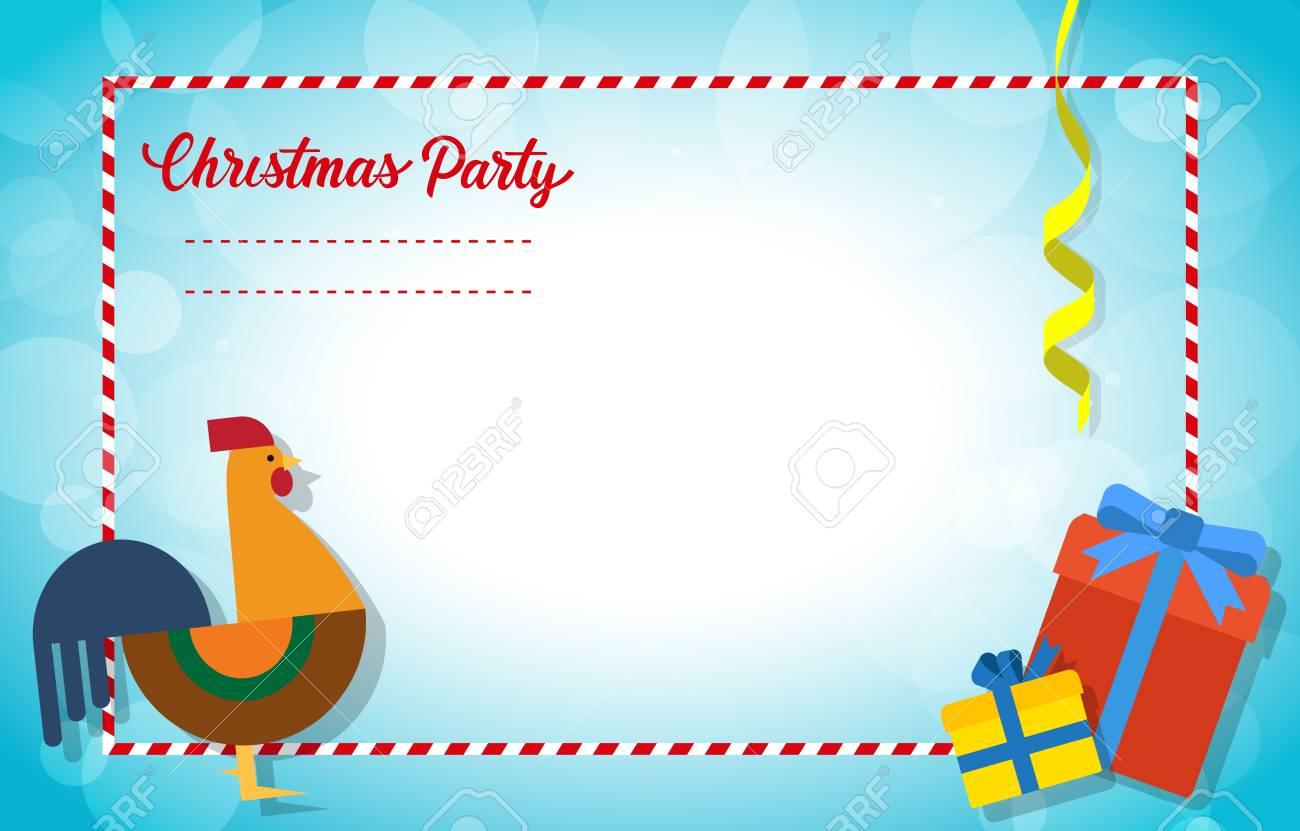 Diseño De Tarjeta De Invitación De Navidad Letras De Fiesta De Navidad Con Icono De Gallo Y Cajas De Regalo Concepto De Vacaciones Plantilla En