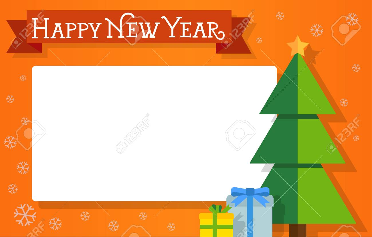 New Year Card Design Happy New Year Lettering On Ribbon Fir Royalty Free Cliparts Vectors And Stock Illustration Image 67252049