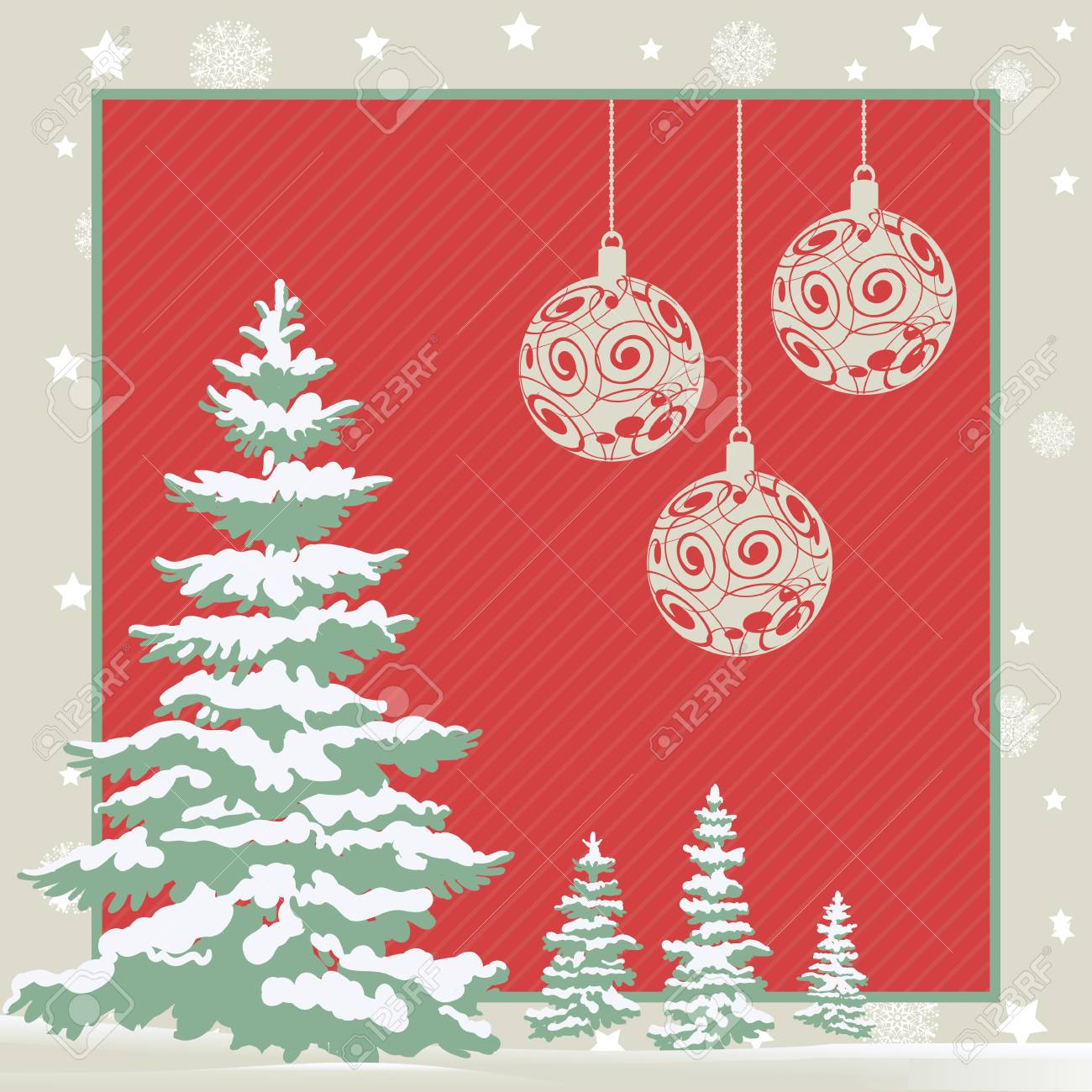 Christmas Greeting Card With Fir Trees And Three Hanging Baubles ...