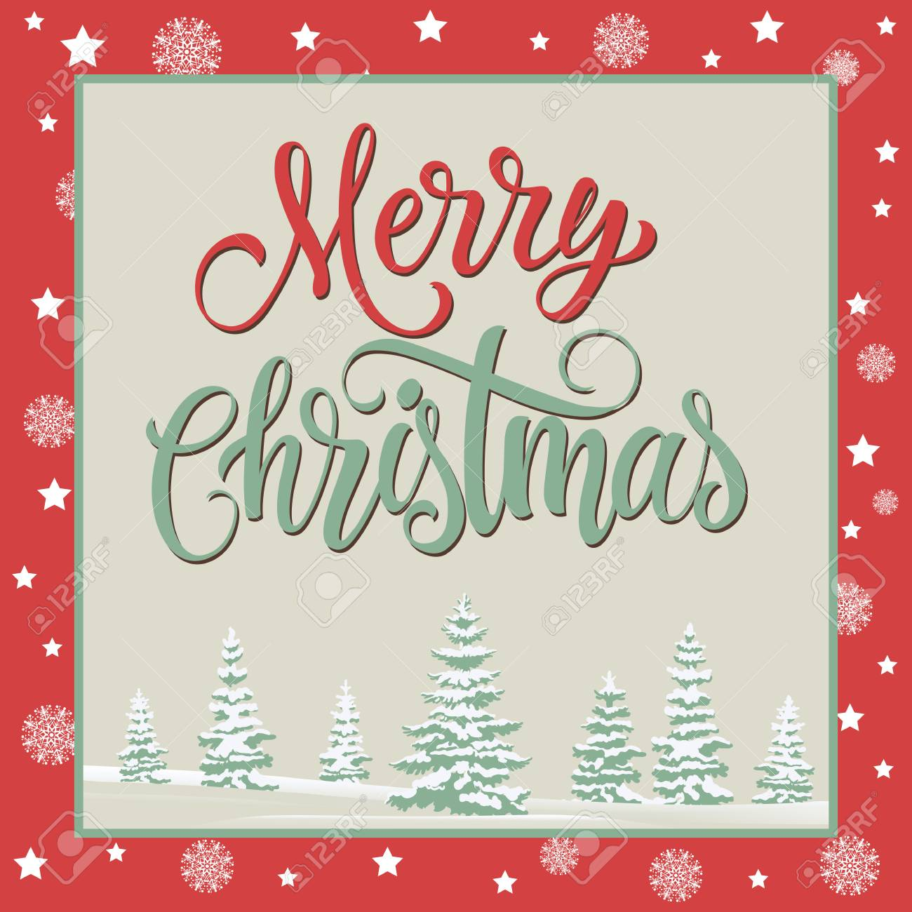 Merry Christmas Lettering In Frame. Christmas Greeting Card With ...