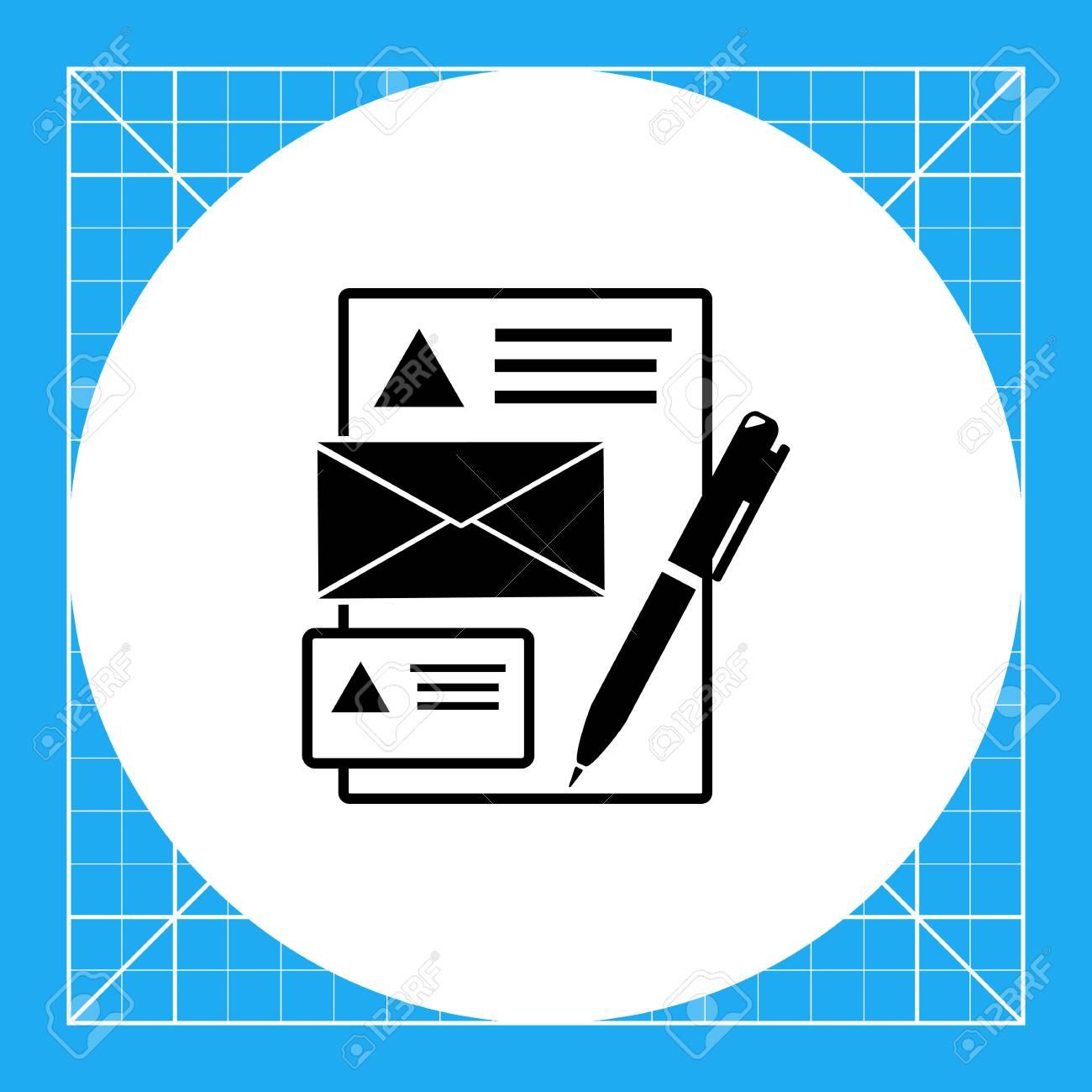 Vector Icone De La Feuille Papier Enveloppe Carte Visite Et