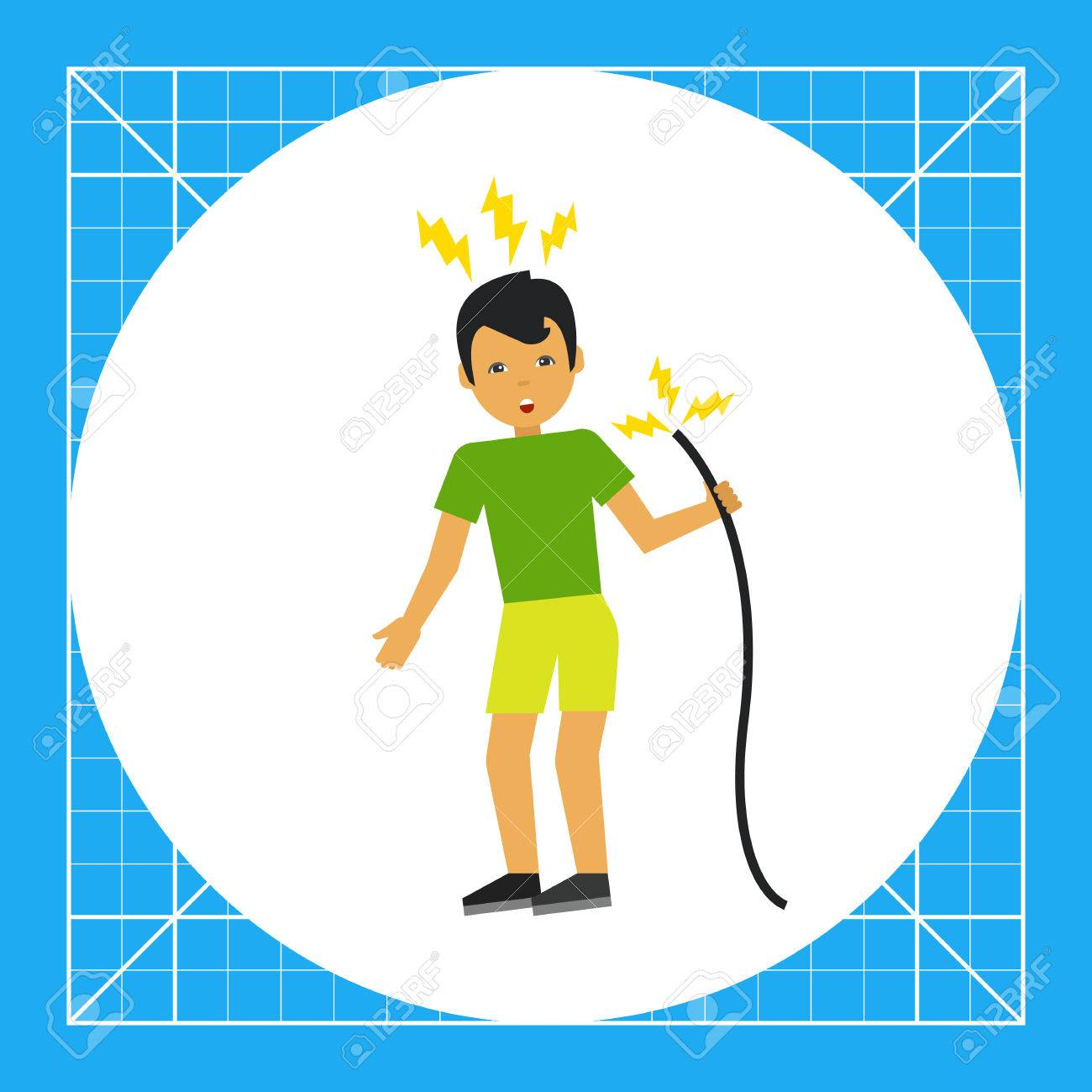 Illustration Of Man Getting Electric Shock From Cable. Accident ...