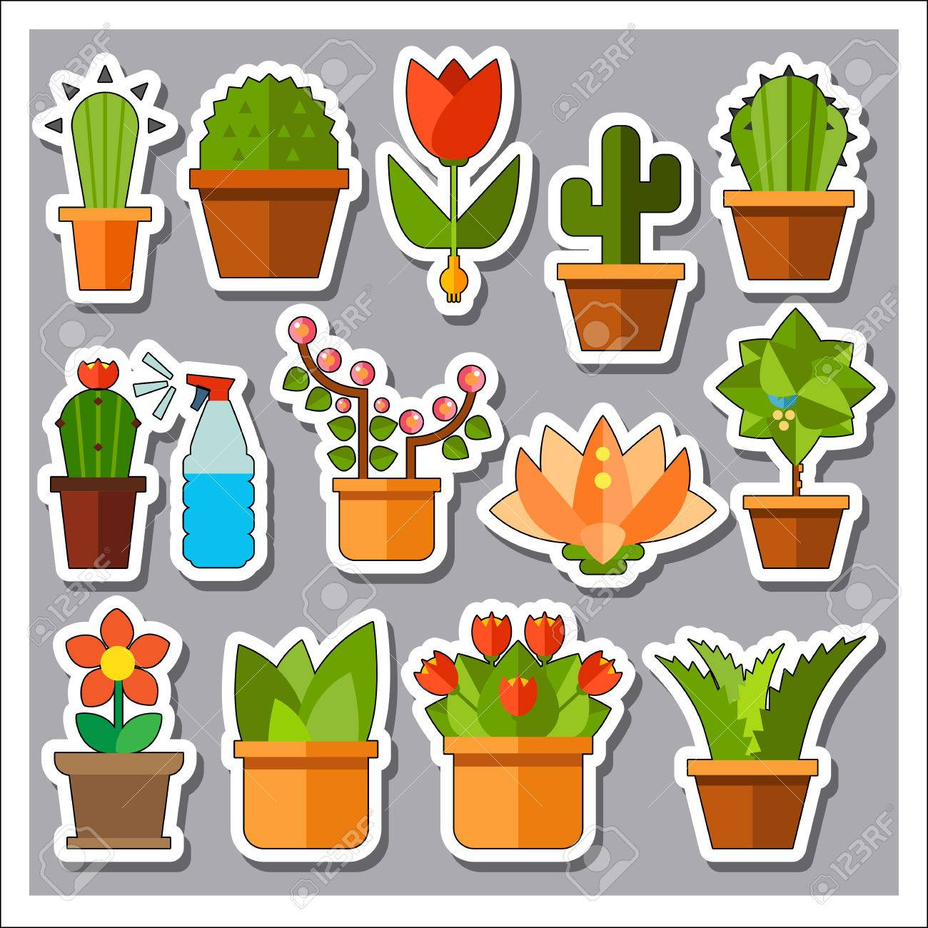 icônes des plantes set. arrosage des plantes cactus aloe vera cactus
