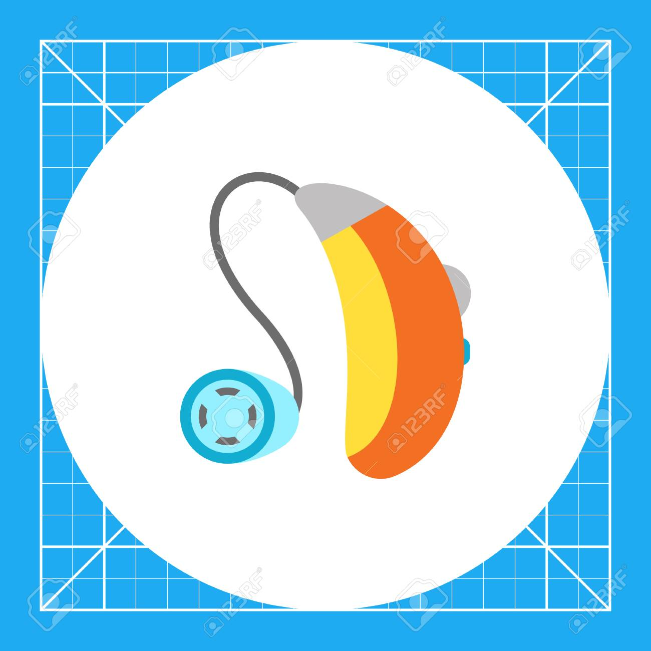 Multicolored flat icon of hearing aid apparatus - 66533920