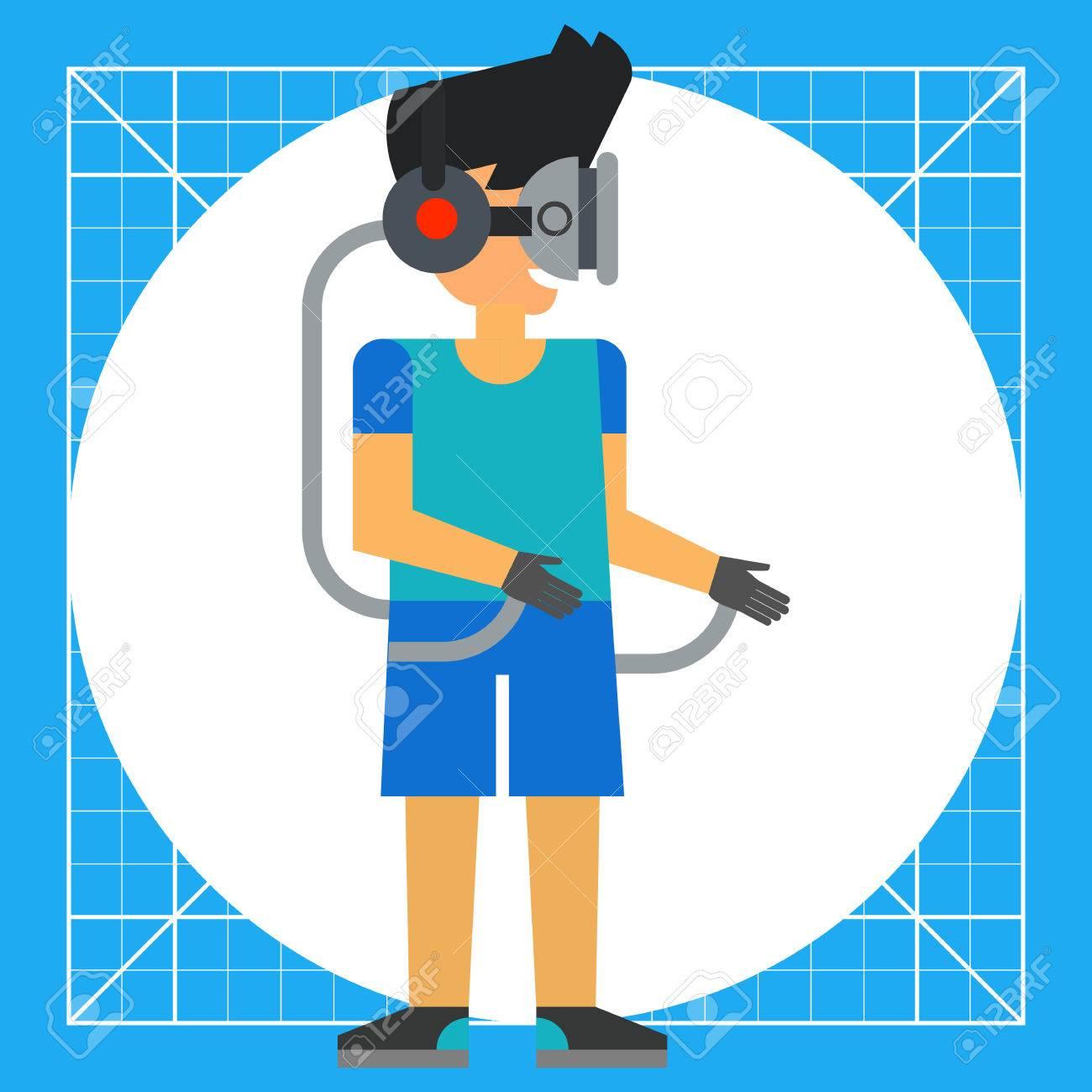 2b489b205d5 Jeune Homme Portant Des Lunettes Virtuelles Connectées Aux Gants. Simulation
