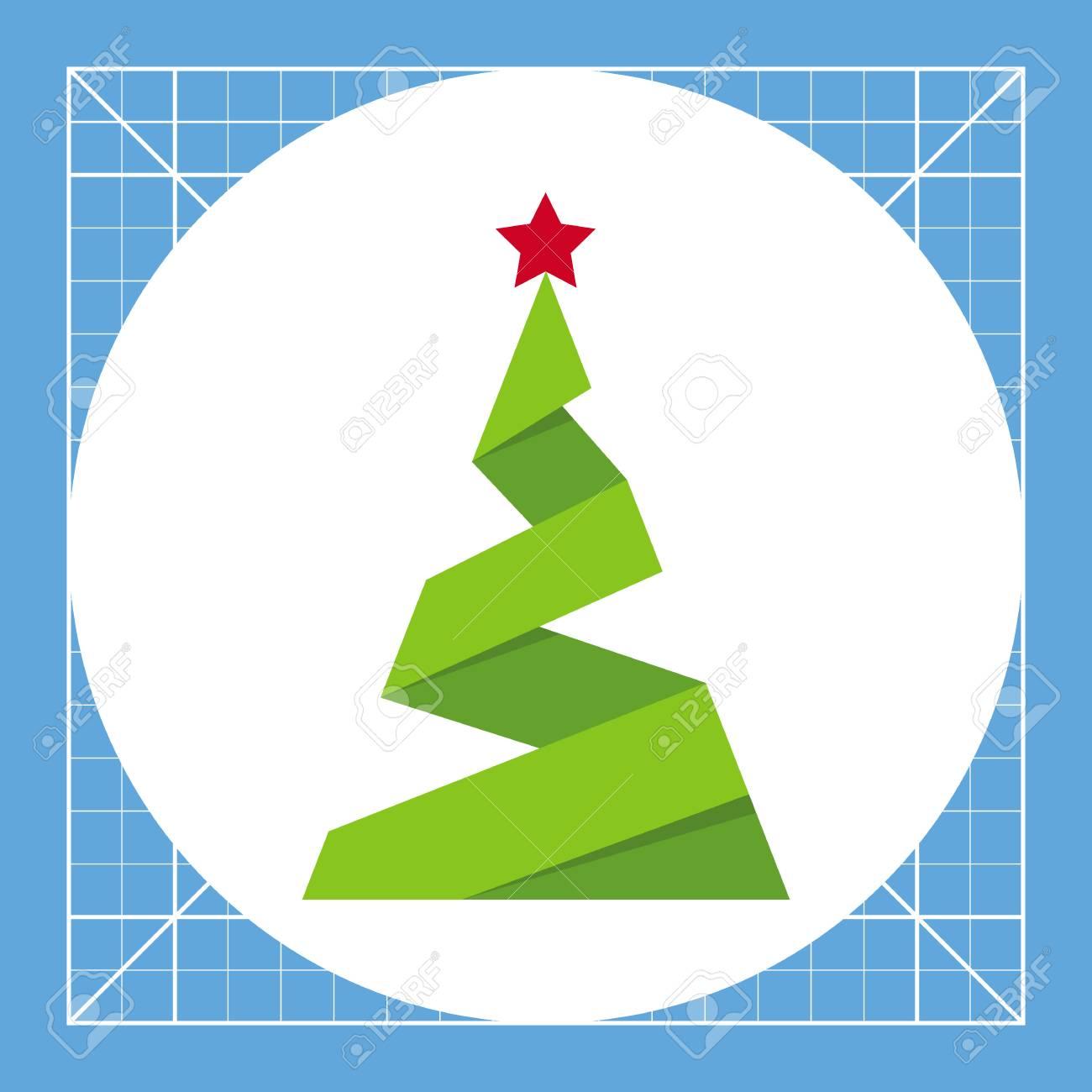 Sapin En Papier Avec étoile Nouvel An Plante Décoration Concept Darbre De Noël Peut être Utilisé Pour Des Sujets Comme Lorigami Noël Nouvel