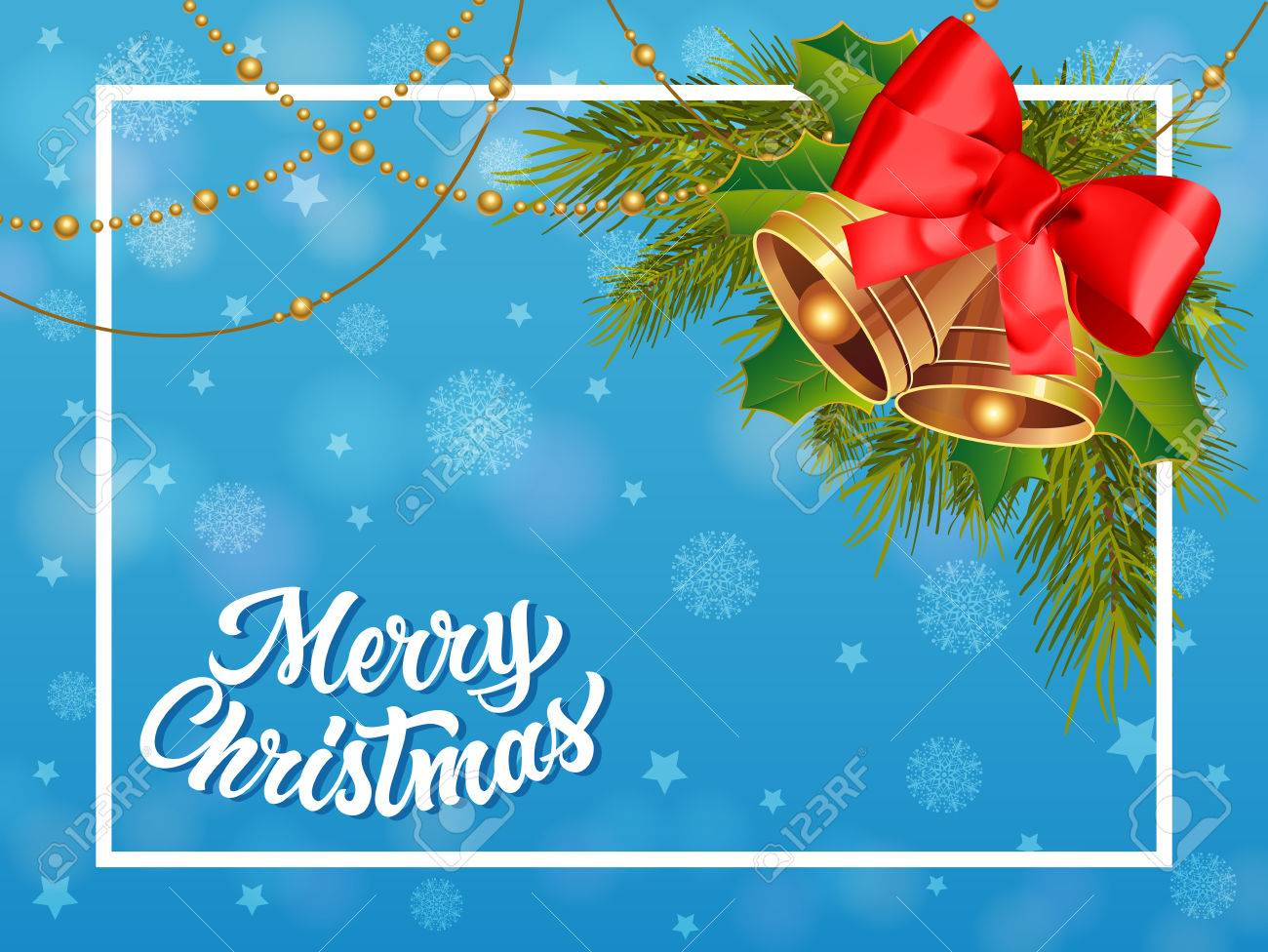 Merry Christmas Lettering In Frame Christmas Greeting Card With