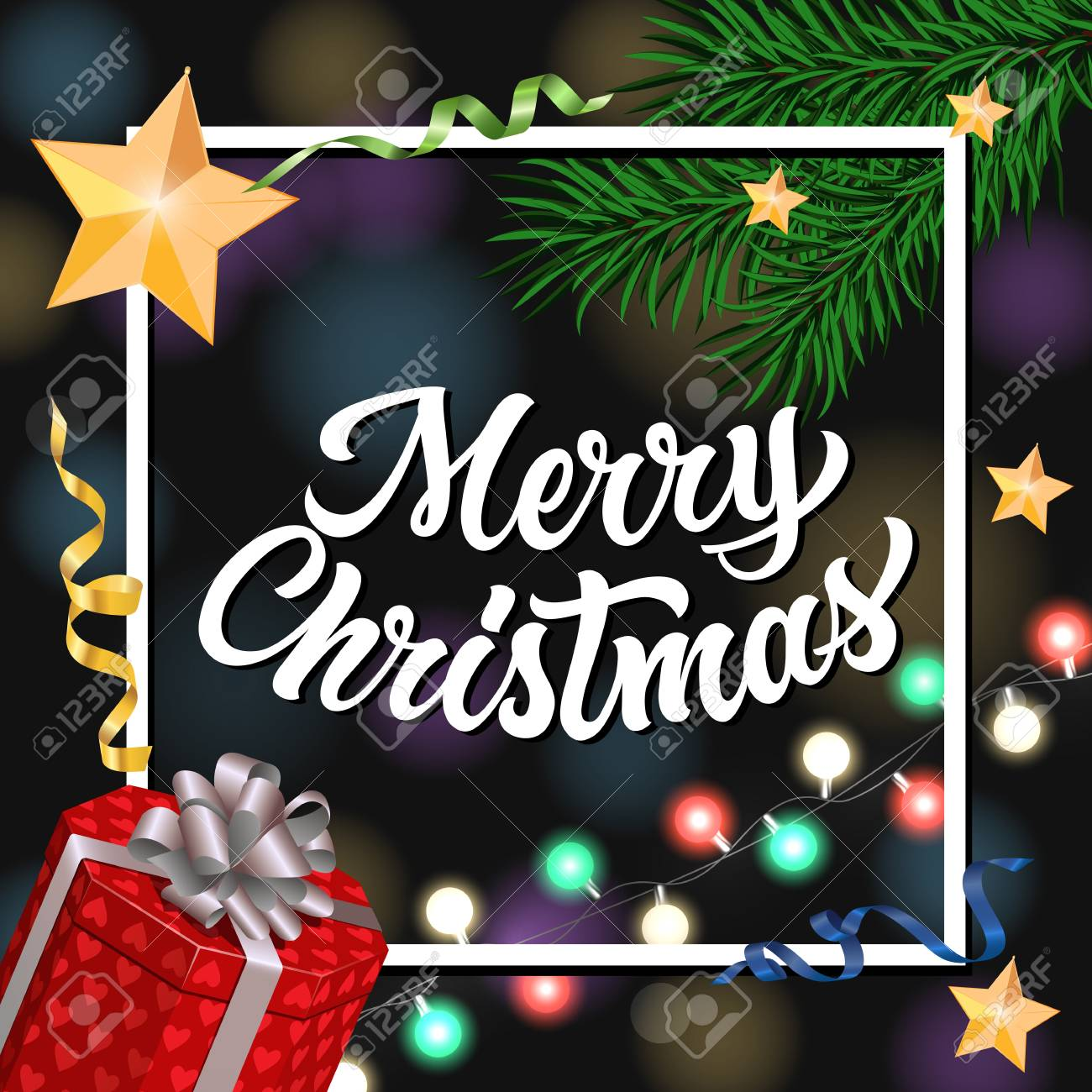 merry christmas lettering in frame christmas greeting card with fir tree twigs decorations and