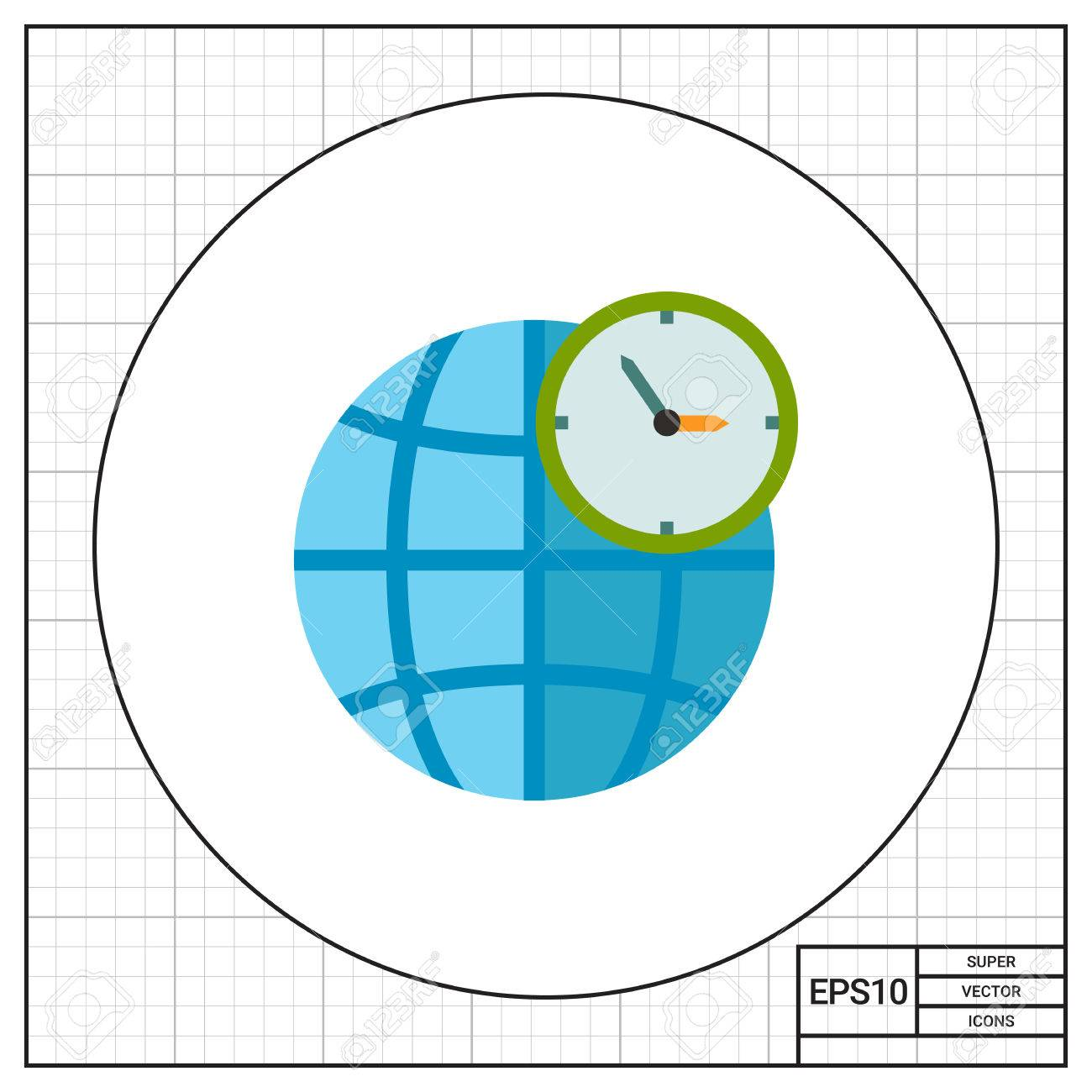 Globe and clock in front of it map international gmt world globe and clock in front of it map international gmt world time gumiabroncs Choice Image