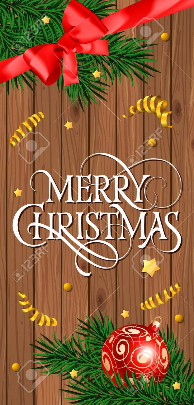 Merry Christmas Lettering On Wood Planks Christmas Greeting