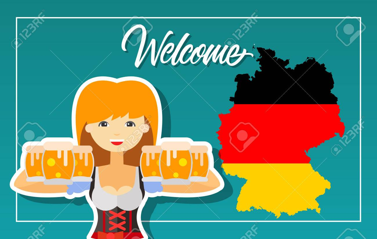 Welcome lettering oktoberfest greeting card with german map vector welcome lettering oktoberfest greeting card with german map flag and girl with beer handwritten text calligraphy can be used for greeting m4hsunfo