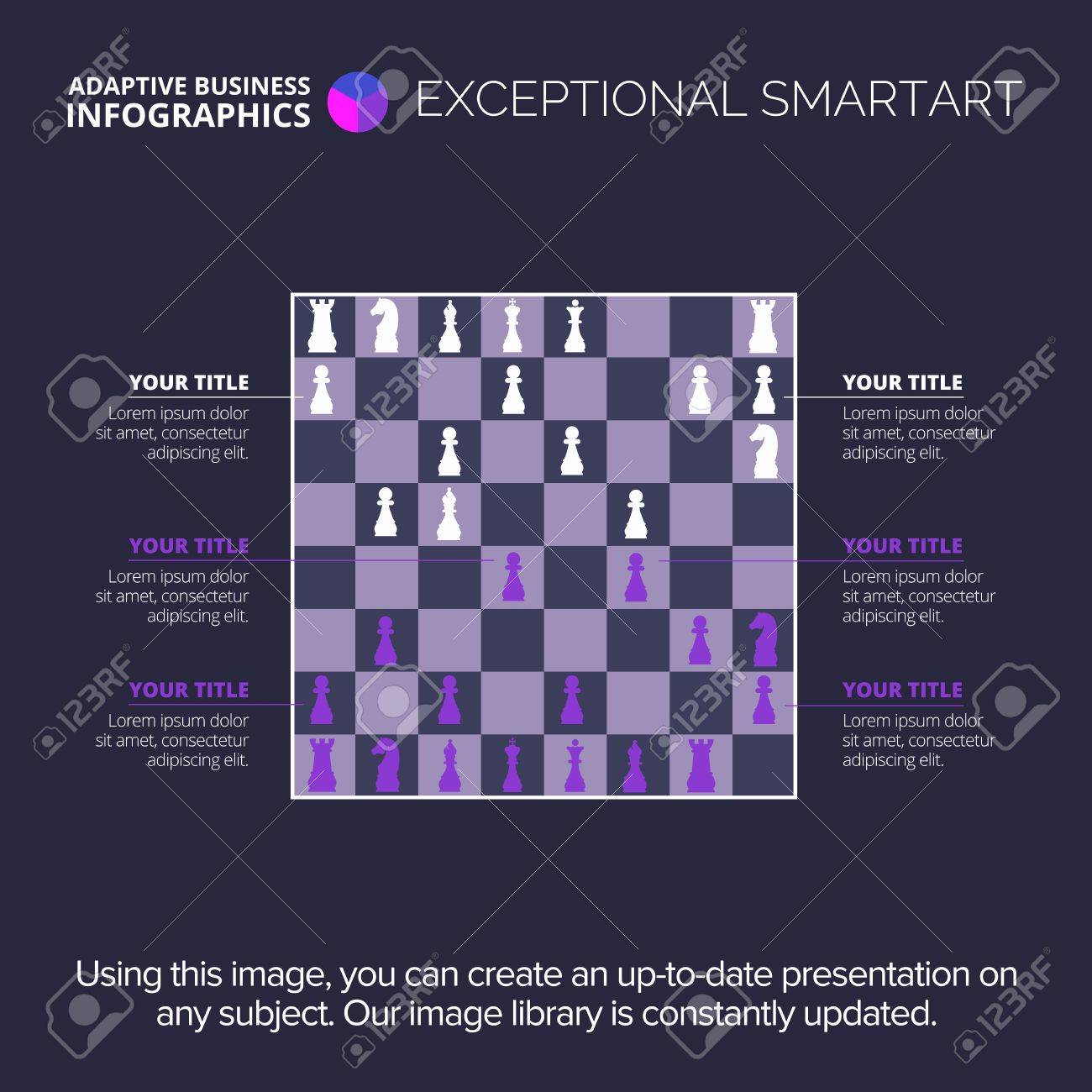 editable infographic template of chess board silhouette chart