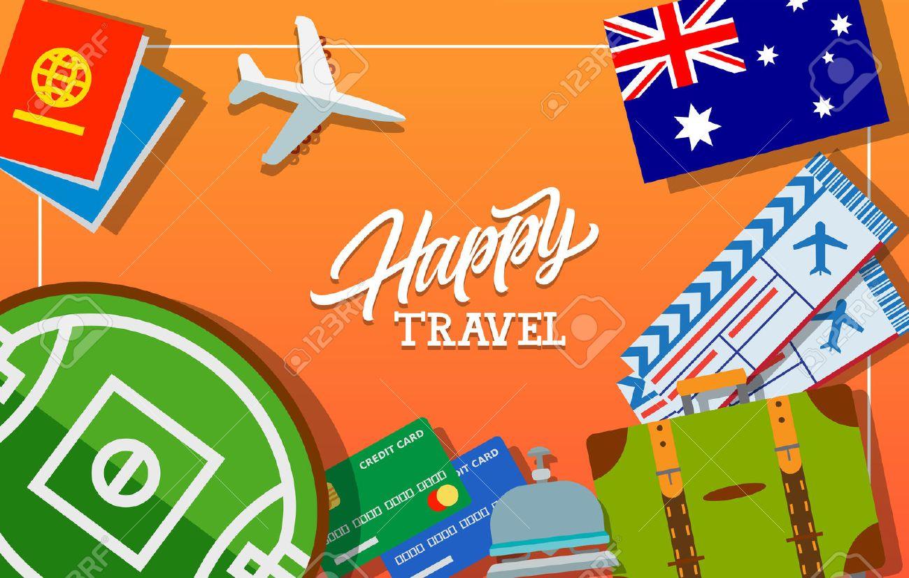 Letras Feliz Viaje. Bandera De Australia, Billetes De Avión, Maleta ...